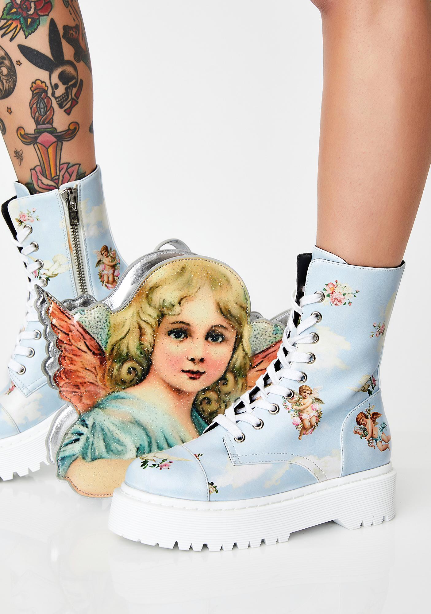Sugar Thrillz Celestial Sass Combat Boots