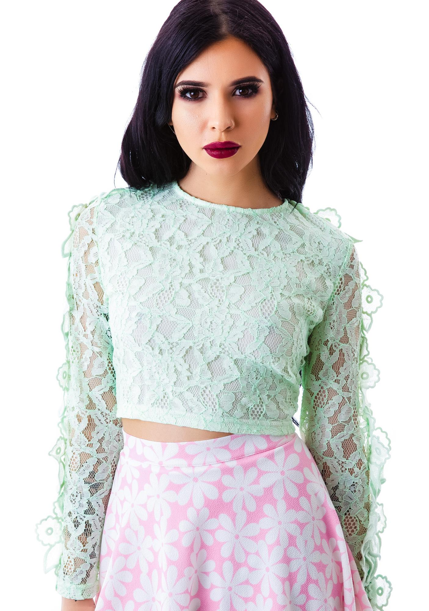 May Flowers Lace Crop Top