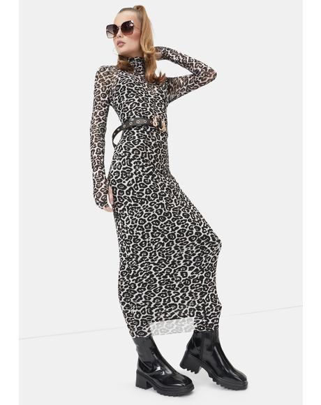 Spring Leopard Shailene Mesh Midi Dress