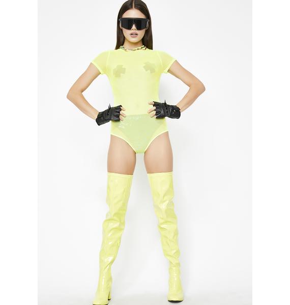 Electric Hard Candy Mesh Bodysuit