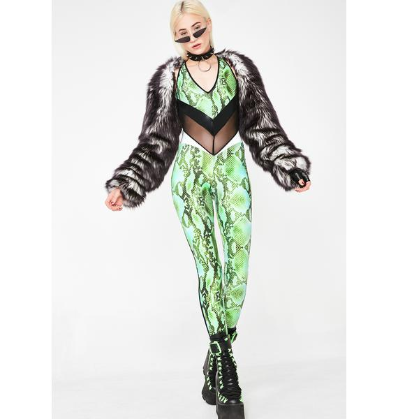 Burnt Soul Acid Green Snakeskin Backless Viper Catsuit