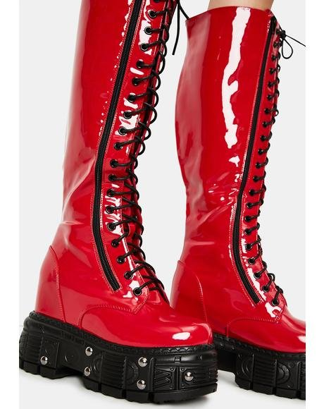 Cherry Late Night Patent Knee High Boots