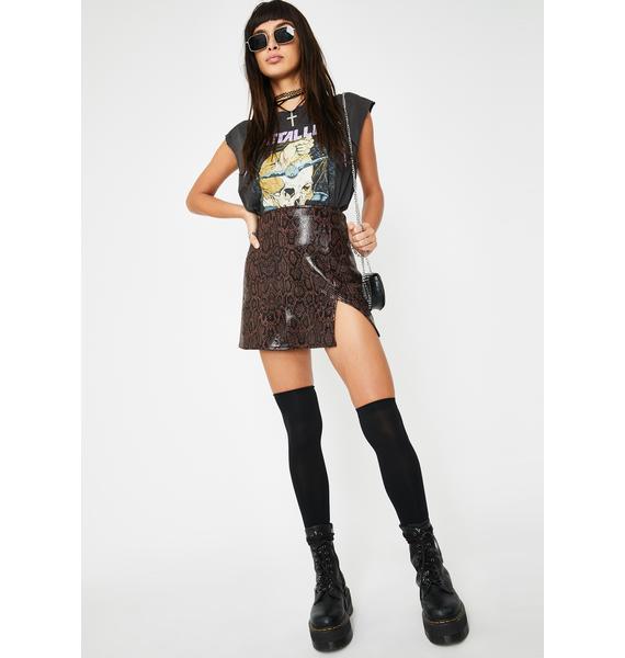 Motel Brown Snakeskin Wren Mini Skirt