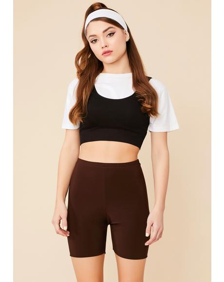 Chocolate Simply Stunning High Waist Biker Shorts