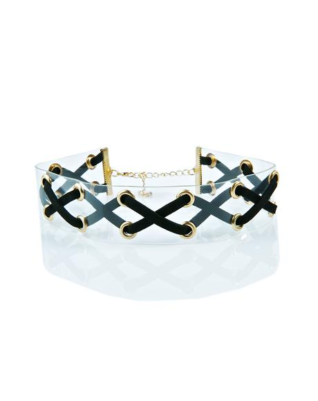 No Ex Zone Lace Up Choker
