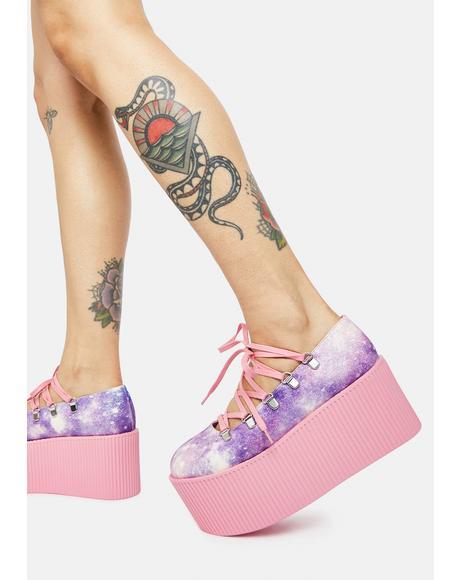 Pink Galaxy Kaos Ballerina Platforms