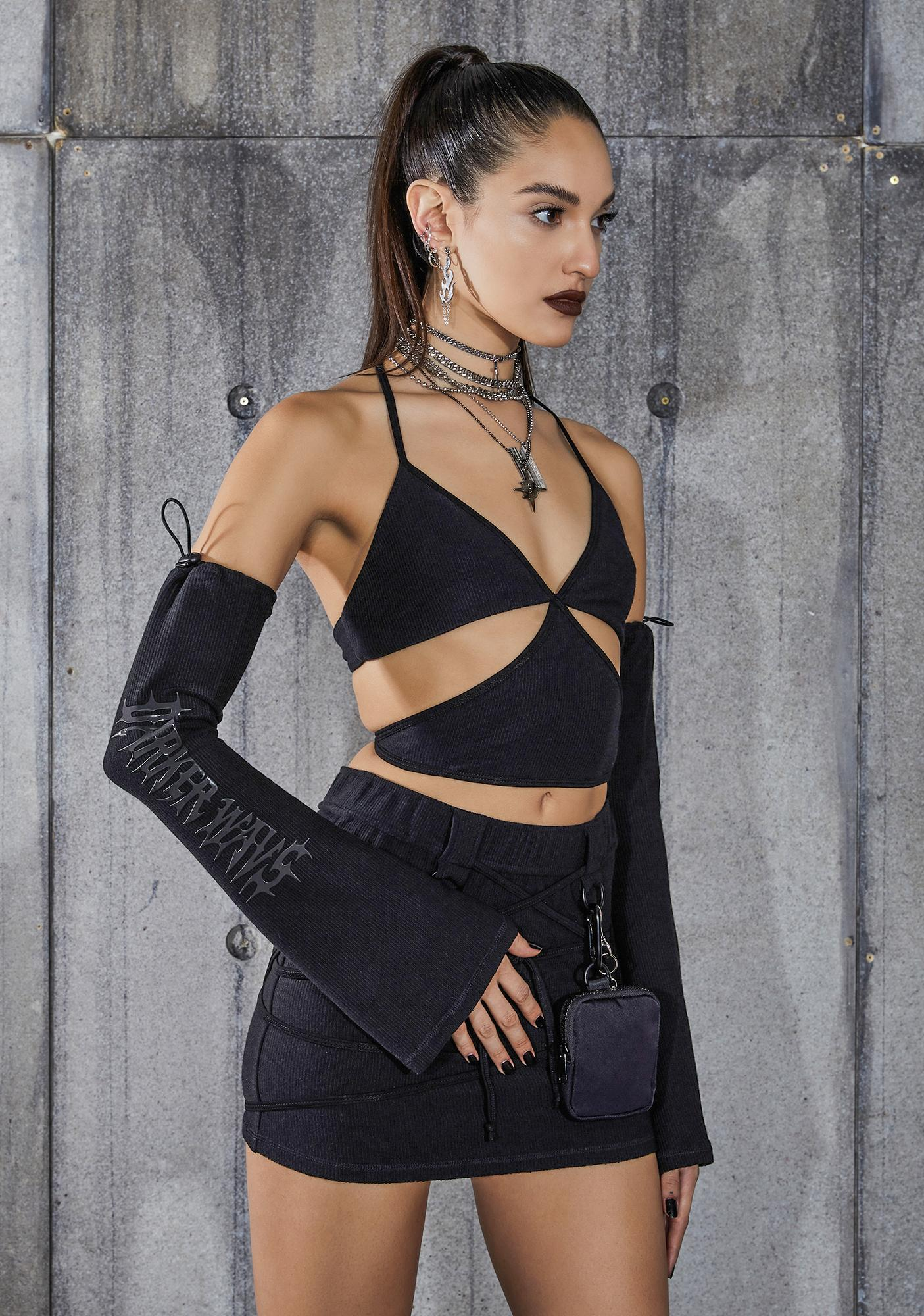 DARKER WAVS Snare Cut-Out Wrap Halter Top And Gloves Set