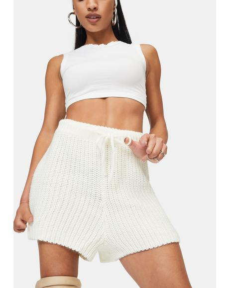 Cream Henry Chunky Knitted Shorts