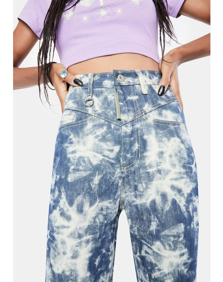 Contrasted Color Denim Pants