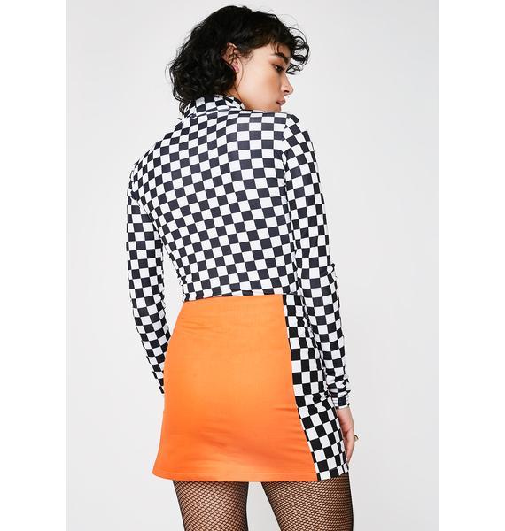 LOVE TOO TRUE Orange Check Mini Skirt