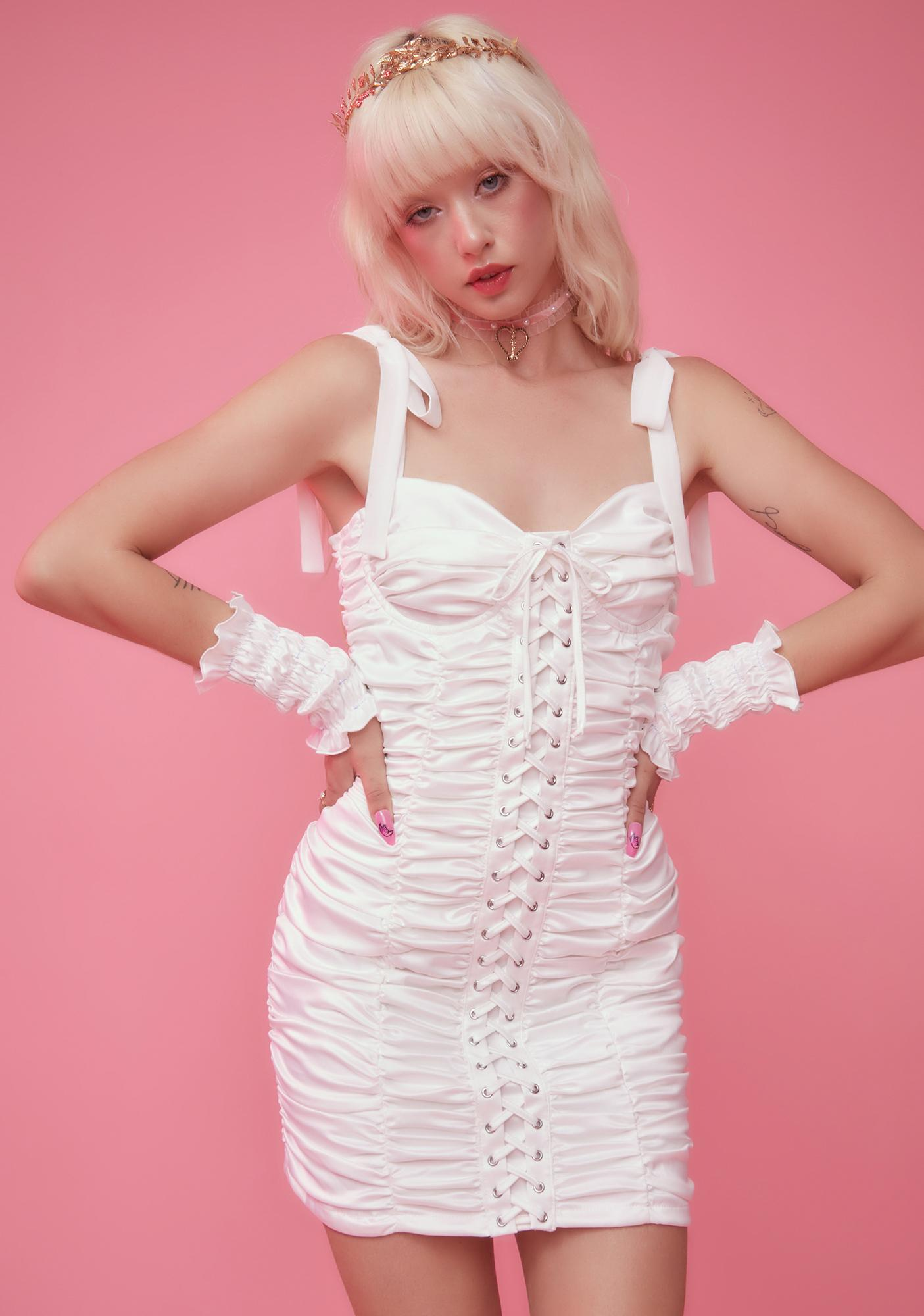 Sugar Thrillz Bright Buds Ruched Mini Dress And Gloves Set