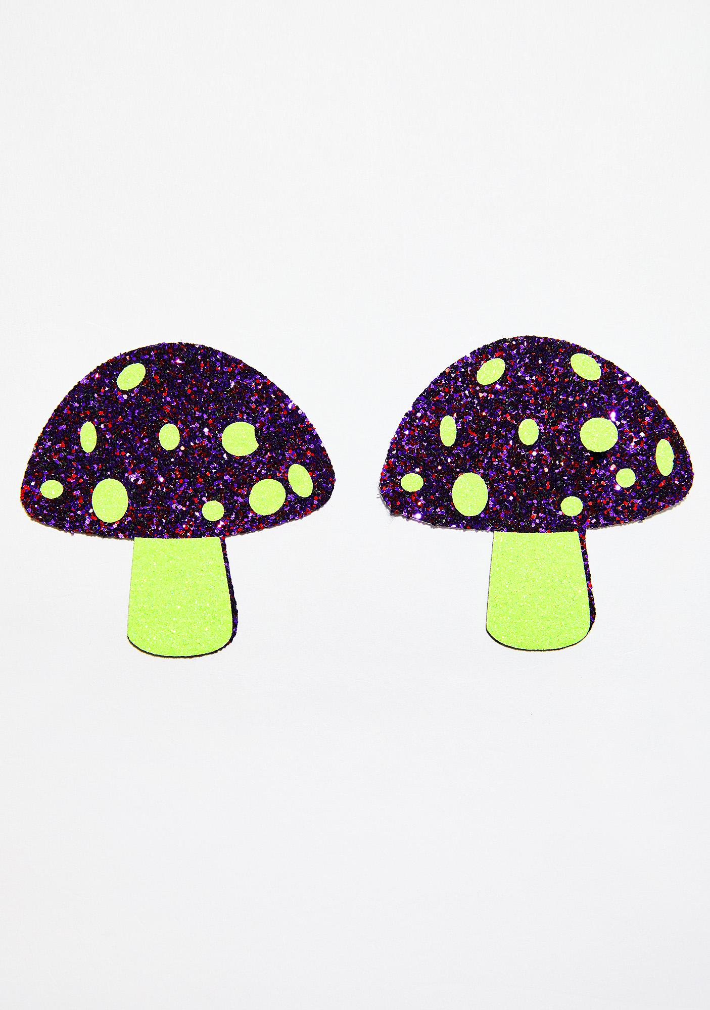 Neva Nude UV Neon Glitter Shroom Pasties