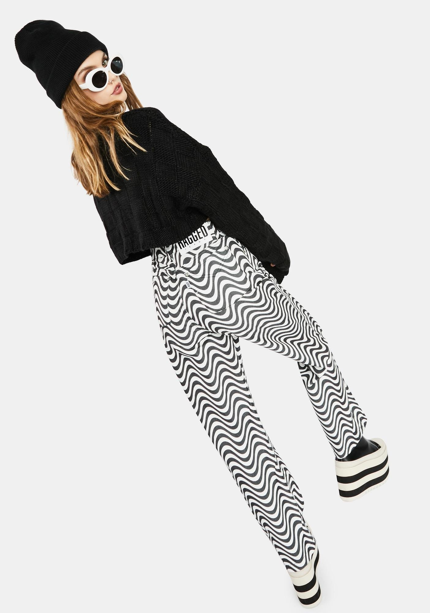 The Ragged Priest Charcoal Wave Print Dad Jeans