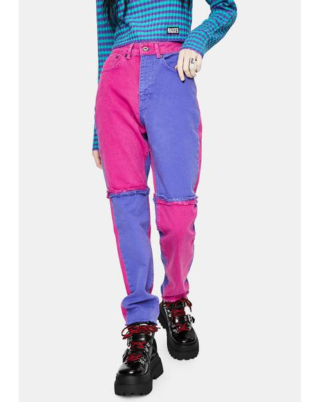 Purple Equilibrium Quarter Panel Jeans