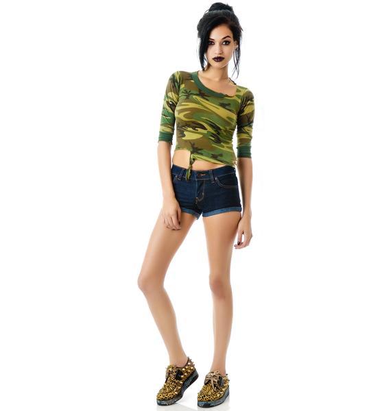 Kill City Plaid Pockets Denim Shorts