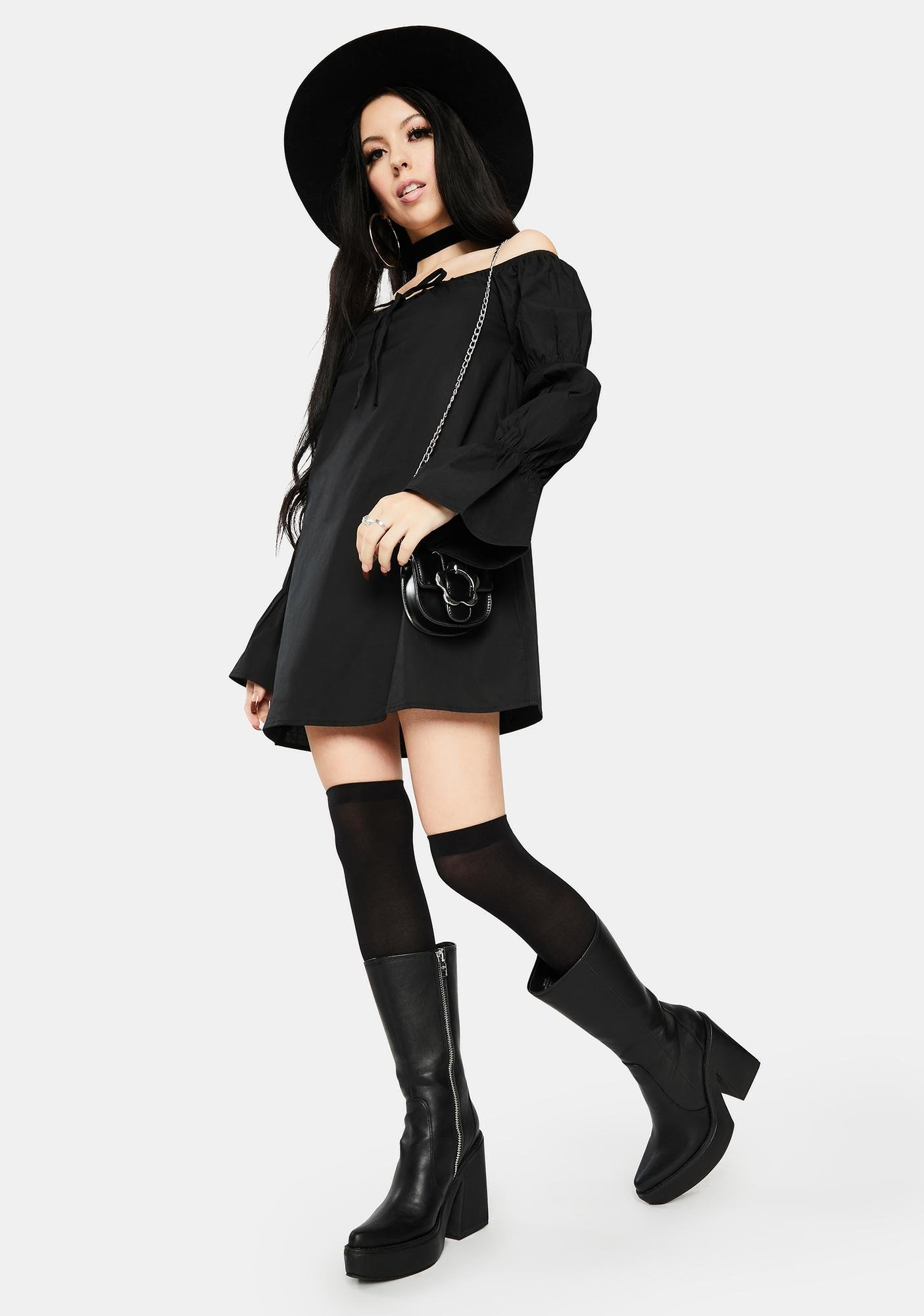 Bailey Rose Black Off Shoulder Puff Sleeve Mini Dress