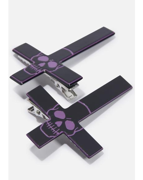 Purple Inverted Cross Skull Hairslides