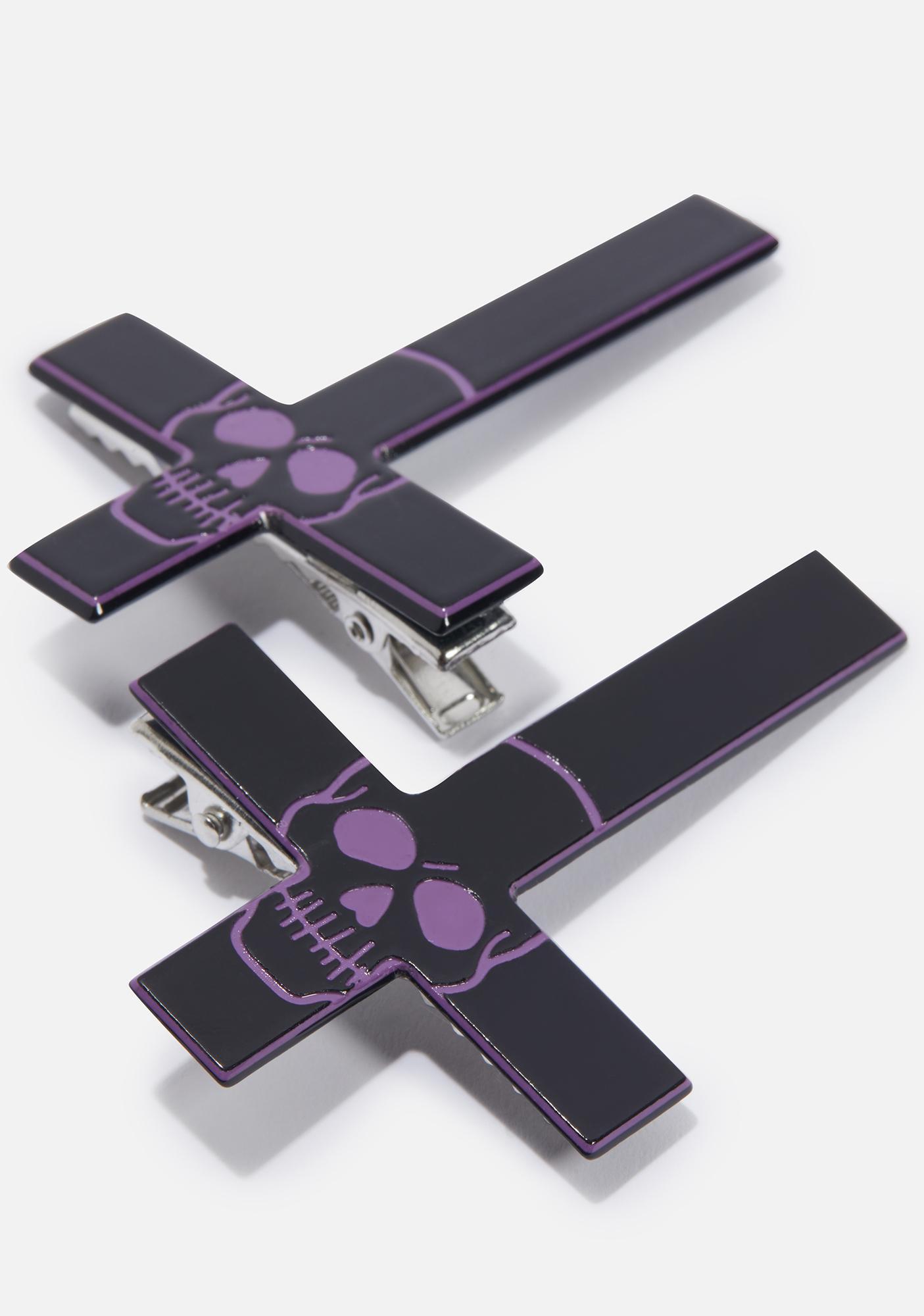 Kreepsville 666 Purple Inverted Cross Skull Hairslides