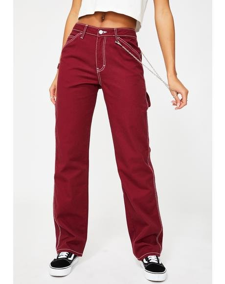 Burgundy Carpenter Chain Pants