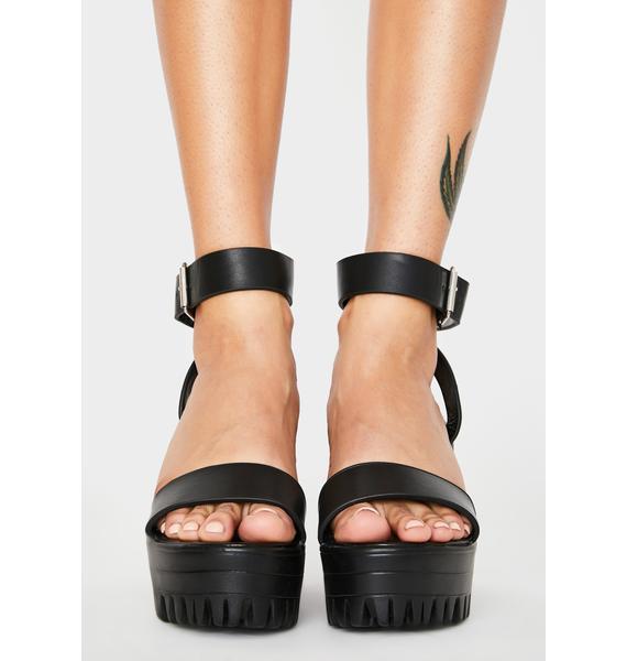 Public Desire Black Avenue Platform Heels