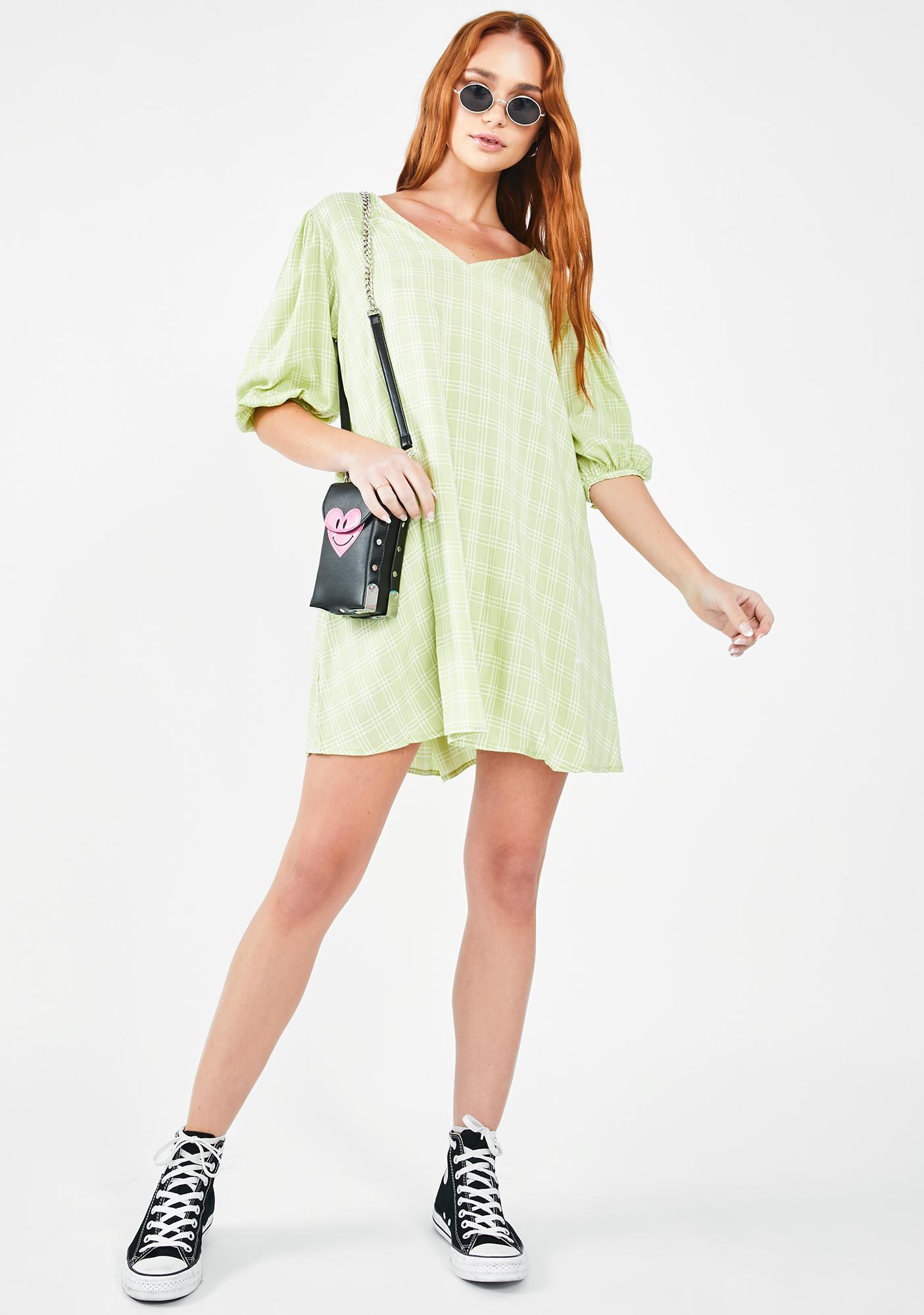 Motel Sage Check Elina Dress