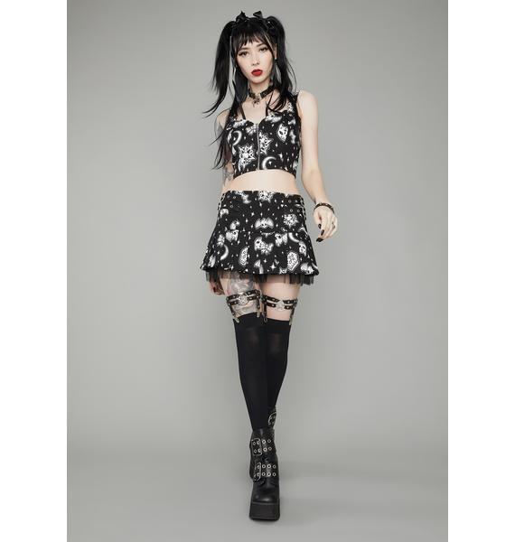 Dolls Kill Dark Greetings Pleated Mini Skirt
