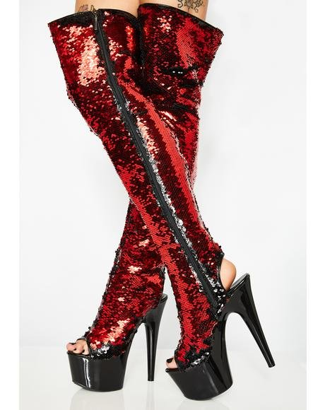 Flaming Outer Space Diva Sequin Thigh High Heels