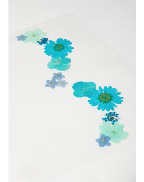 Blue Green Flowers Face Stickers