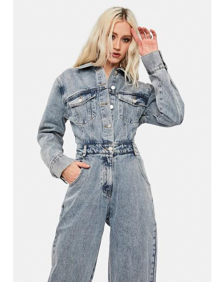 Earned It Denim Long Sleeve Jumpsuit
