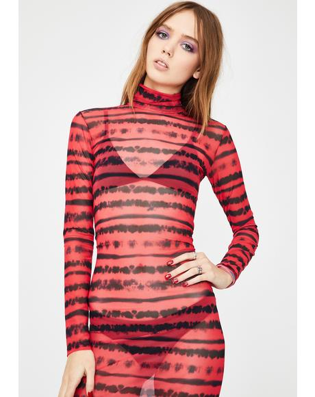 Gimme A Beat Mesh Midi Dress