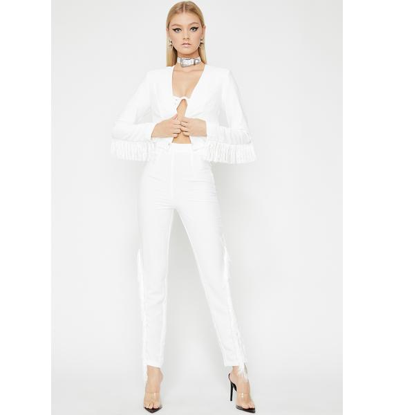 Blanc Fringe Off Cropped Jacket