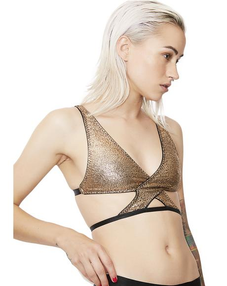 Don't Cross Me Metallic Bra Top