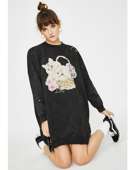 Basket O' Cats Sweater Dress