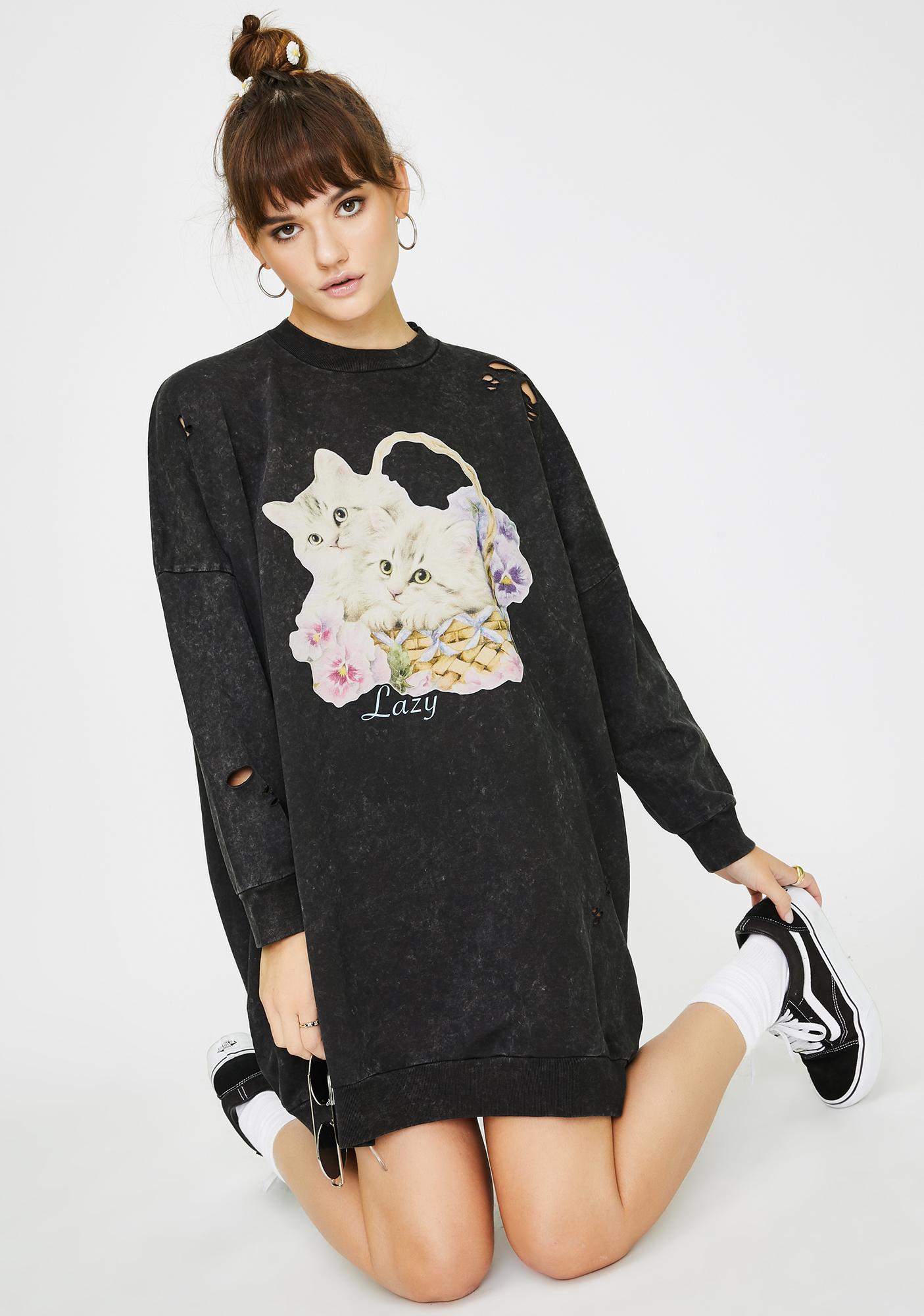 Lazy Oaf Basket O' Cats Sweater Dress