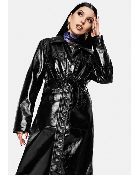 Hallie Vegan Leather Trench Coat