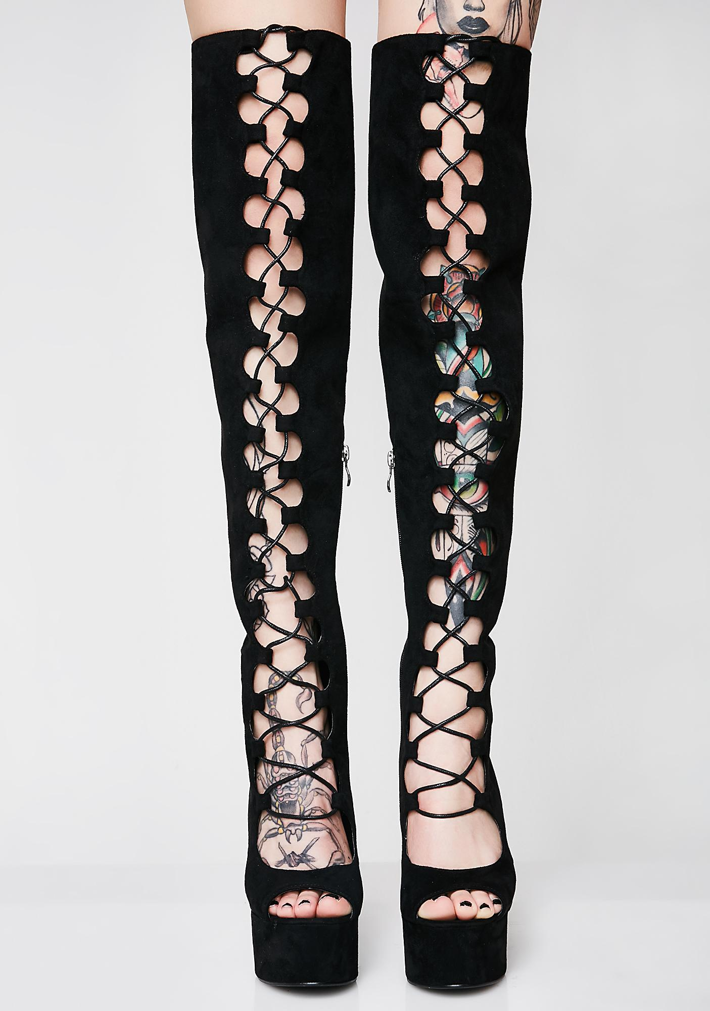 About That Life Lace Up Thigh Highs