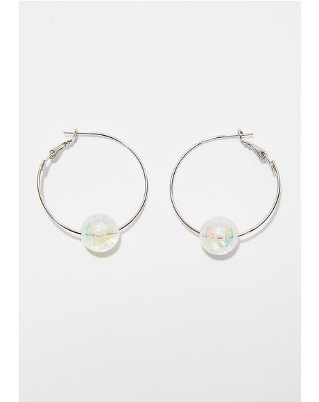 Drop The Ball Hoop Earrings