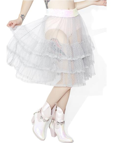 Silver Spoon Sheer Ruffle Skirt