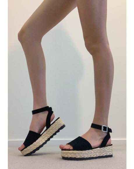 Noir Never Enough Espadrille Sandals
