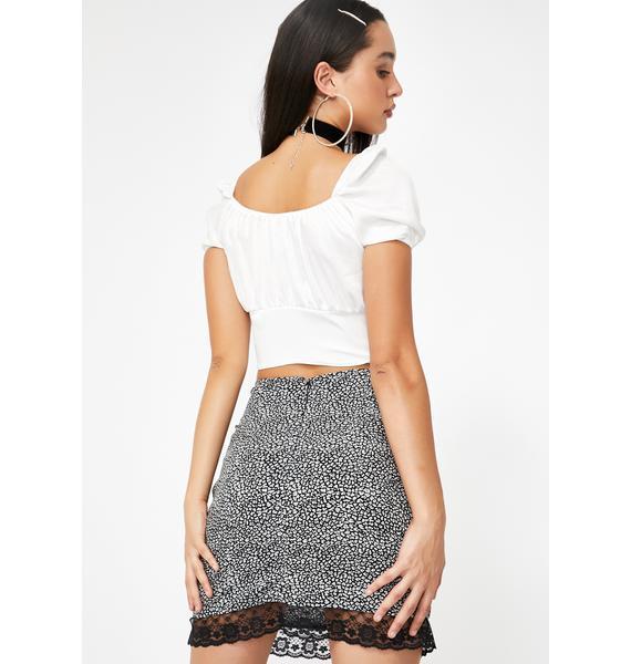 Motel Grey Ditsy Leopard Urila Mini Skirt