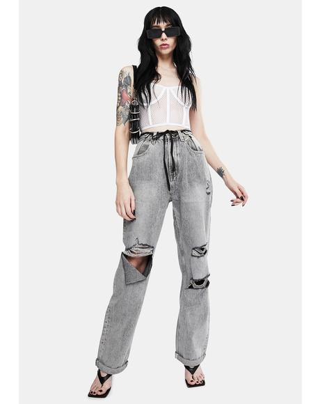 Grey Raider Trash High Waist Wide Leg Jeans