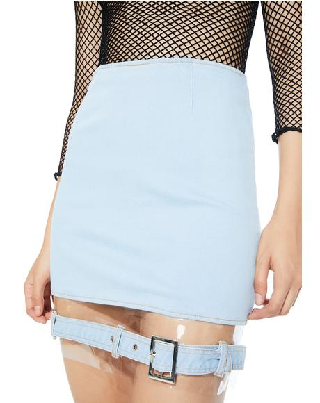 Replicant Clear Paneled Denim Skirt