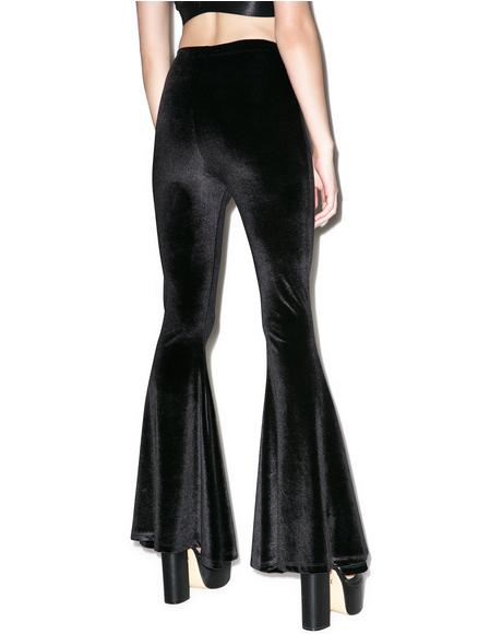 Obsidian Velvet Stretch Bell Bottom