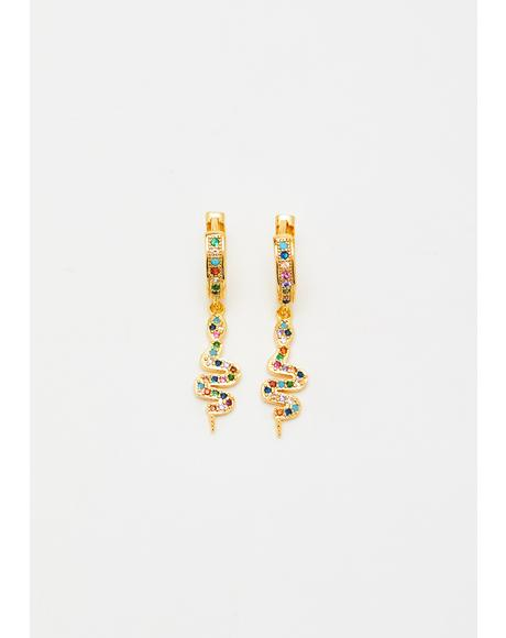 Glam Bitez Rhinestone Snake Earrings