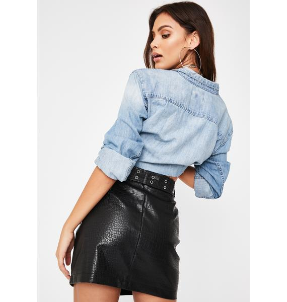 Honey Punch Belted Snakeskin Leather Skirt