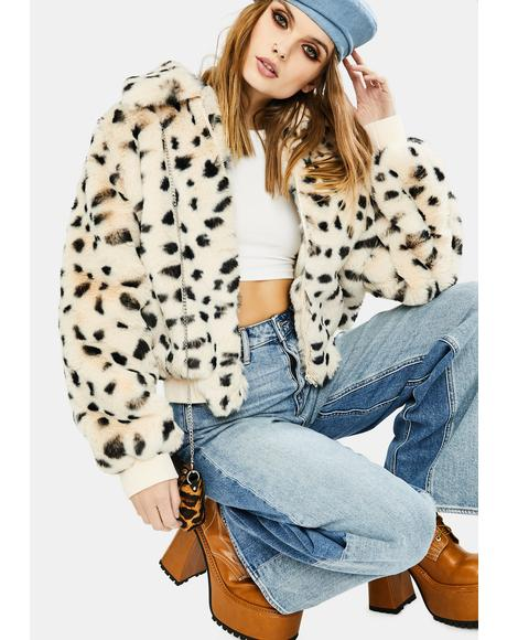 Hailey Leopard Faux Fur Jacket