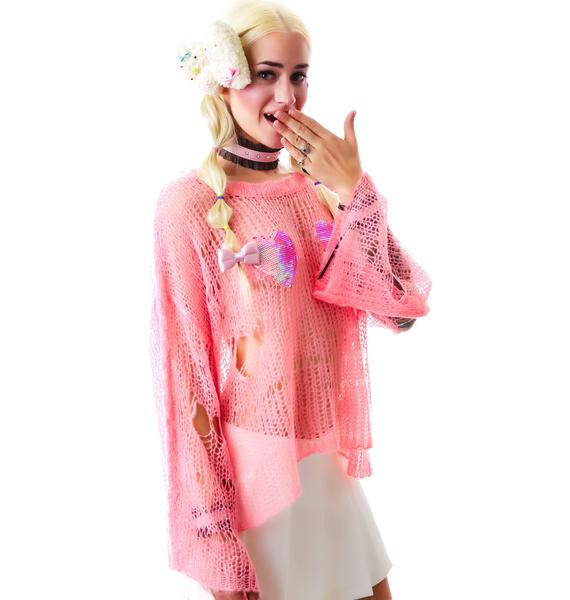 Wildfox Couture Heart Bra Lost Sweater