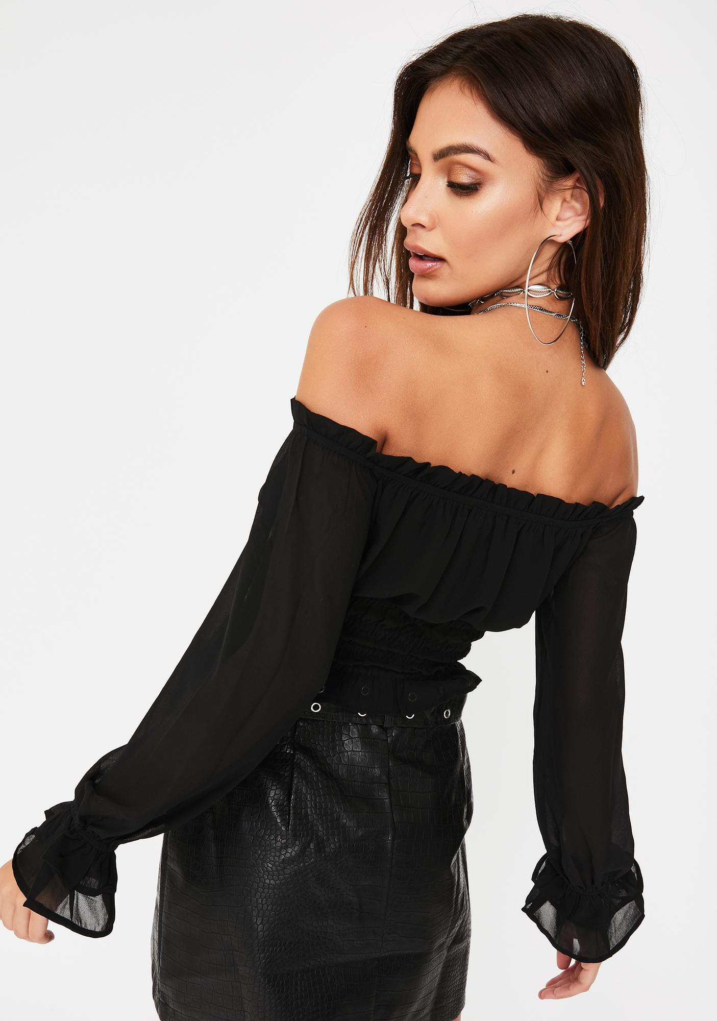 Honey Punch Off The Shoulder Peasant Top