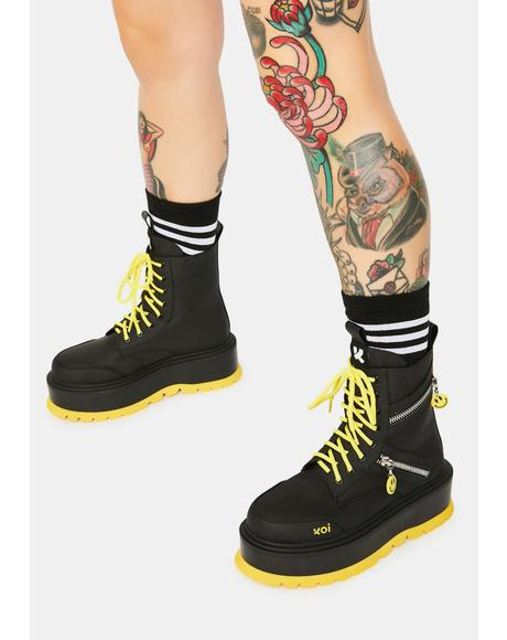 Bassiani Smiley Face Platform Boots