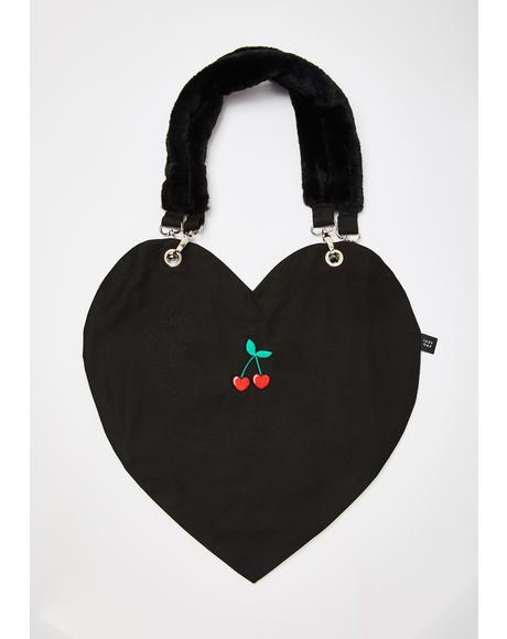 Cherry Heart Tote Bag